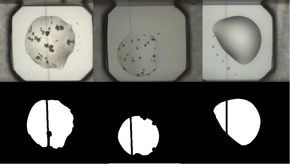 Example crystallisation images in which the drop has been masked