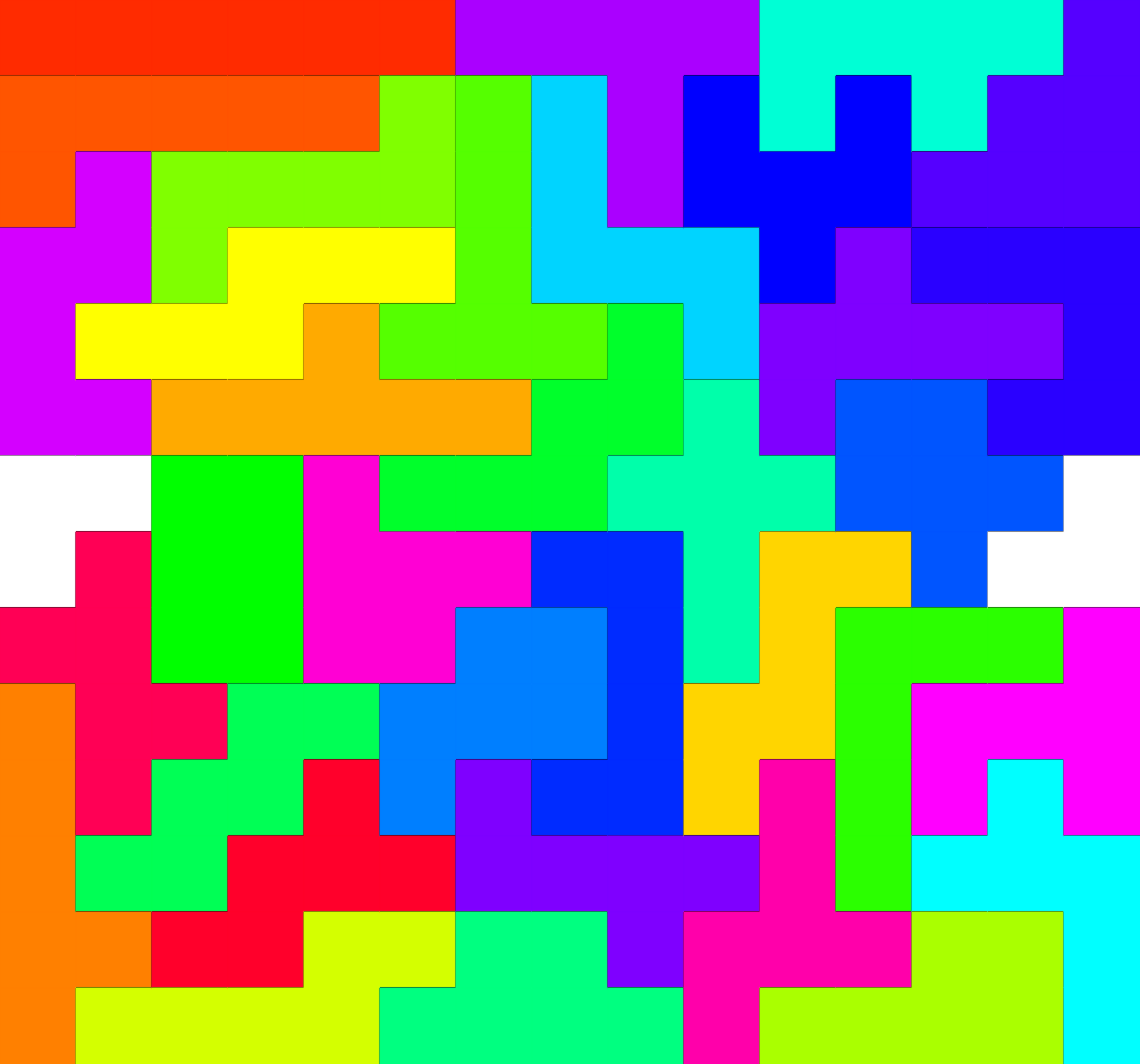 Square hexominos pattern with all 35 hexominos